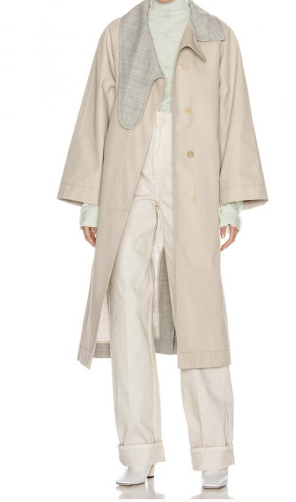 Loewe Long Asymmetrical Collar Coat【Beige/Gray】